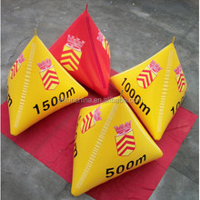 2015 inflatable buoys triangular shape with red and yellow colour for water triathlons advertising