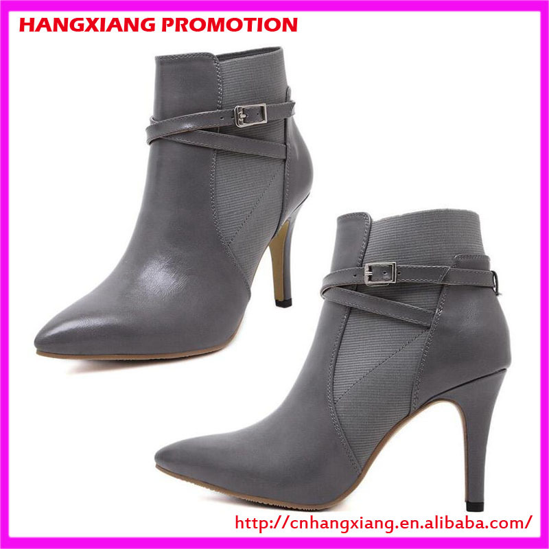 boot shoe cheap pu leather ankle boots pointed