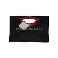 Cute lip shape satin cosmetic bag,promotional lovely bag for gir