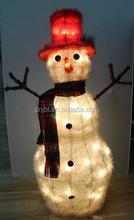 Christmas Handcrafts Decoration LED Light Artificial Snowman Sculpture Indoor Home Snowman Decoration