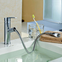 Copper hot and cold pull basin faucet square retractable faucet XR604