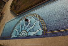 Glass mosaic swimming pool mural