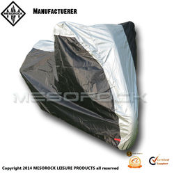 Deluxe All-Season Waterproof and Dustproof Motorcycle Cover (Black,silver, Large)