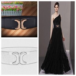 Hot Selling Women Elastic Belts Top Quality Lady Stretch Belt With PU Leather Ending