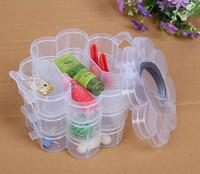 17X17X13cm Organizer Storage Round Flower Beads Box Plastic Jewelry Adjustable Tool Bins Jewelry Packaging PVC Box
