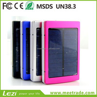 Factory wholesale Solar mobile power bank polymer battery 20000 Mah high capacity mobile phone emergency charger LED Light