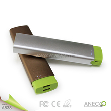 2015 FCC ANECOO Shake up Slim universal externa portable power bank A838 portable power bank for samsung note 3