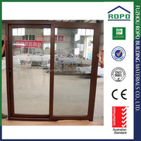 UPVC two panels interior wooden color glass sliding doors
