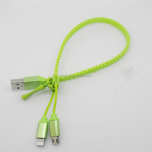 2015 Newest bulk promotional gift for Zipper 2 in 1 mobile phone USB Cable with OEM service