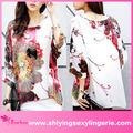 venda quente tamanho grande batwing manga aquarela pintura blusa chiffon roupa por atacado