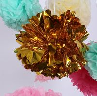 New Product 8 inch Christmas Decorations Shiny Gold Tissue Paper Pom Pom