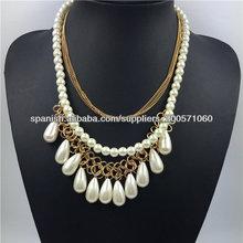 collares de la manera 2014, chapado en oro de la perla de la cadena de la joyería colgante de vestuario, Alibaba español