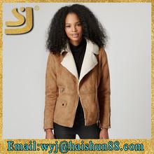Stylish facy goat skin fur ladies winter leather coat inside fur suede leather jacket