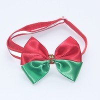 Green & Red with Red Shine Stone Christmas Series Dog Bow Tie Reflecctive Pet Collar 1 CM Adjustable Size V1151