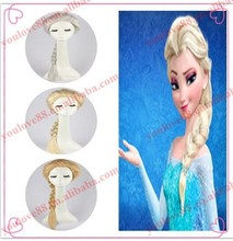 2014 hot selling newest style wholesale price best quality Alibaba movie frozen Elsa wig, synthetic wig, elsa costume