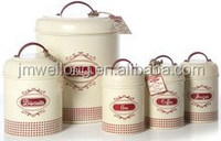 Set of 5 Flower outer Finish/Kitchenware Multifunctional Round Galvanized Metal Kitchen Storage Canister