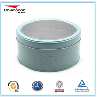 round chocolate tin box packaging with PVC window