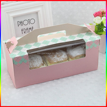 high quality beautiful 3 cupcakes and breads paper packaging box with clear window