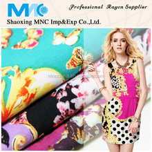 2014 hot sales colourful fresh viscose/rayon woven fabric various printed for ladies dress