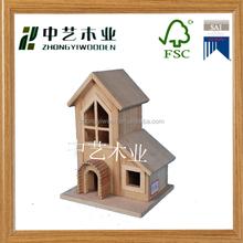 2015 Hot selling unfinished DIY outdoor garden log cabin wooden bird house
