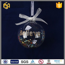 Factory supplier wholesale clear open glass ball ornament,christmas gift