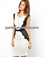 2014 new design fashionable office ladies off shoulder V neck lace pencil dress