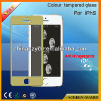New Design Anti-scratch Colour Tempered Glass Screen Guard For Iphone5