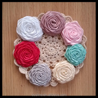 colorful ribbon roses embellishments,ribbon flowers,craft flower