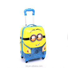 2015 new arrival cute monions and factory cheap kids luggage with pc abs material