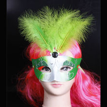 Wholesale custom made feathers painted halloween mask party masks