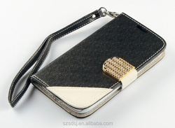 bling bling diamond leather wallet case for samsung galaxy s6 with credit card