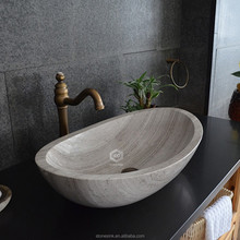 Grey Wood Hand Carved Public Marble Sink