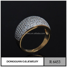 Fashion design micro pave zircon ring with color zircon hot selling