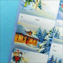 fancy holiday label sticker glitter powder design