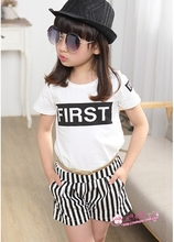 White cotton T-shirt +Black and white vertical stripes Shorts Factory direct sales
