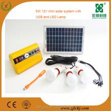 5W mini solar light kits,home solar light kits,multi-function solar light kits