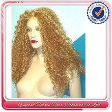 best selling ombre two tone 27/613 blonde curly indian remi half wigs