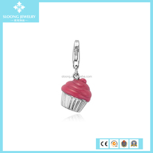 Wholesale Silver Pink Cupcake Charm in Enamel and Sterling Silver