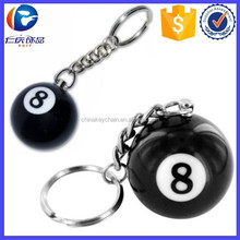 Promotional Black Eight billiard ball key chain pool player for promotion