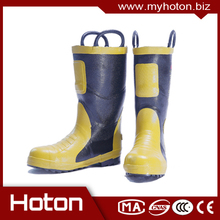flame-retardant firefighting boots with steal cap and sole; firefighter's heat insulation protective boots with CE certificate