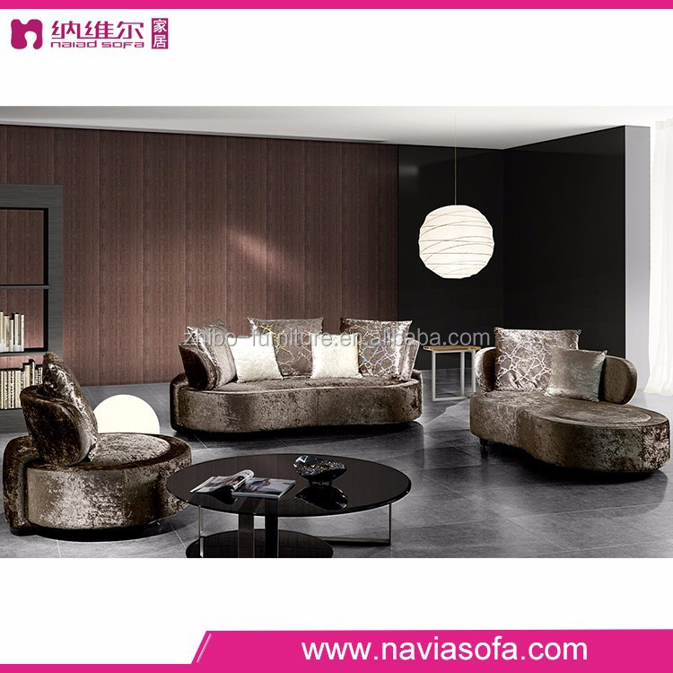 living room furniture high density foam fabric round couch luxury sofa