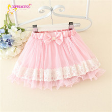 small bow lace flower new design children's skirt pink mesh and oganza girls short skirt with yiwu cheap price summer half dress