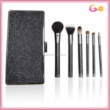 6pc NEW Black Makeup Cosmetic Fiber Powder Foundation Blush Brush Stipple Tool with metal cosmetic bag clutch