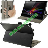 Litchi Texture Leather Case Cover for Sony Xperia Tablet Z with Holder and Armband(