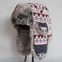 Fake Fur Western Style Knitting Fabric Winter Trapper Hat ,Faux fur Earlap Hat