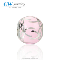 New Arrival Woman Fashion Jewelry Silver Pink Enamel Ribbon Ball Charm Beads AMLD003