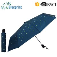 Promotion Mini Metal Shaft 3 Auto Open Folding Umbrella With Designed