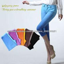 Caliente! Nuevo de alta de verano de la cintura los pantalones vaqueros de mezclilla de color elástico pantalones capris