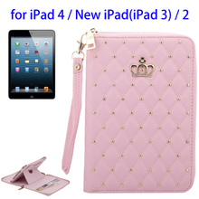 Superior Quality Crown Design PU Leather Case for iPad 4 with Stand