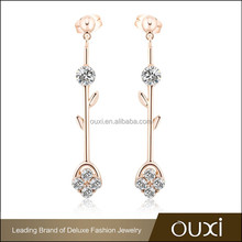 OUXI cheap chinese beautiful 18k gold earring designs for women